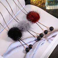 Eg _ Pompom Quaste Perlen Anhänger Halskette Damen Langer Pullover Kette Schmuck
