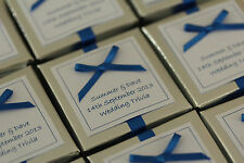 1 x Handmade Personalised SILVER & ROYAL BLUE Favour Boxes - Any Qty Any Design