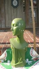 "VINTAGE ANTIQUE ART DECO LADY WOMAN LARGE PLASTER BUST DISPLAY 25"" ADVERTISING ."