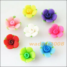 10 New Charms Handmade Polymer Fimo Clay Flower Leaf Spacer Beads Mixed 15mm