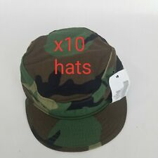 10 new US Military Issue Army Woodland Camouflage BDU Patrol Cap Hat Size 7 1/8