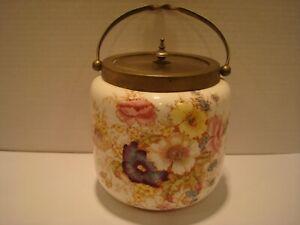 English Crown Devon Biscuit Jar Barrel with Handle - S F & Co  'Rye' Pattern