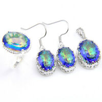 Holiday Jewelry Set Natural Rainbow Mystic Topaz Gems silver Woman Ring size 8