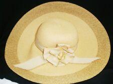 "DANIELE MEUCCI Italy 100% Paper Straw FLOPPY HAT Sz 7 Woven 7"" Wide Brim Ribbon"