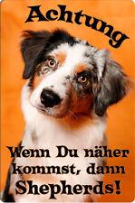 Australian Shepherd - A4 Alu Warnschild Hundeschild Schild Türschild ASD 18 T38