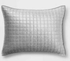 Project 62  Silver Gray Velvet Grid Stitch Pillow Sham  ~ King