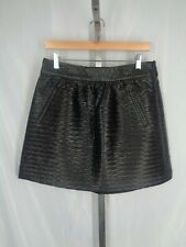 BR Monogram Banana Republic Black Faux Leather Skirt Size 8 Textured NEW