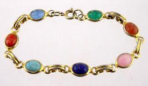 Vintage Goldtone Metal Molded Acrylic Scarab Bracelet Unsigned 6 Inches 5.3g