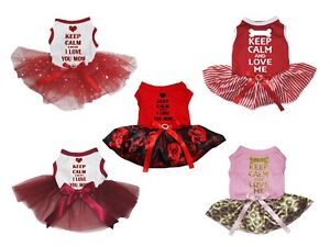 Keep Calm And Love Me Red Cotton Top White Striped Tutu Pet Dog Puppy Dress