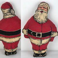 "Vintage Santa Claus Mid Century Christmas Cloth  Pillow 19"" Tall"