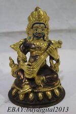 "5"" Old Tibet Buddhism Temple Bronze 24K Gold Pipa King Buddha Statue"