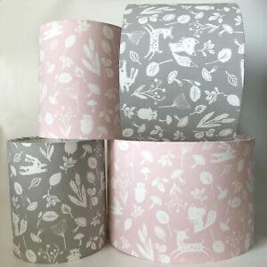 Children's Grey or Pink Woodland Animal Fox Deer Rabbit Light Shade or Lampshade