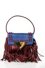 Sara Battaglia Amber Leather Gold Tone Fringed Mini Crossbody Handbag New