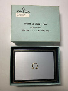 VTG OMEGA MENS WATCH PRESENTATION CASE ONLY W/ OUTER BOX NORMAN MORRIS CORP. EUC