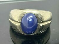 Blue Star Sapphire Cabochon Ring 10k White Gold Unisex Estate Jewelry Size 8
