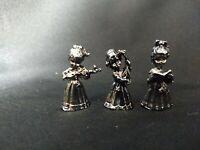 Pewter Girl Doll Miniature Figurine Lot 3 Musician Chorus VTG Taiwan Metal 80's