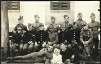 AUSTRO HUNGARIAN PLATOON CROSS ARMY WW1 UNIFORM PHOTO RPPC PC POSTCARD