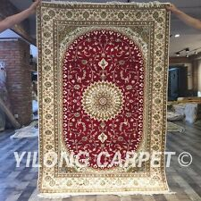 Yilong 4'x6' Handwoven Silk Persian Rugs Furniture Medallion Red Carpet Y399C