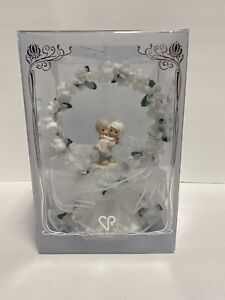 New Precious Moments Wedding Cake Topper Bride Groom Lace White Flowers (D)