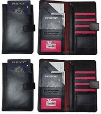 Lot of 2 Leather document case organizer passport ID airline tickets Credit card