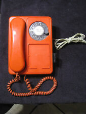 RETRO 1970s Northern Telecom ORANGE Rotary Dial Wall Hanging Telephone Phone