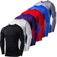 Mens Compression Armour Bodybuilding Top Long Sleeve Thermal Gym Sports T-shirts