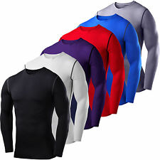 Mens Workout Compression Base Layer Long Sleeve T-Shirt Tops Cycling Sports Tee