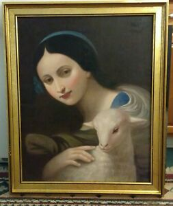 """MASTERPIECE """"Girl and Lamb"""" Sheep; HAND PAINTED PORTRAIT OIL ON CANVAS"""