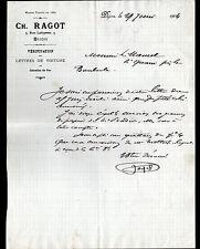"""DIJON (21) MESSAGERIE / LETTRE DE VOITURES DE CHEMIN DE FER """"Ch. RAGOT"""" en 1904"""