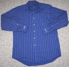 Ralph Lauren Dress Shirt Medium Blue White Chaps 15-15.5 34/35 Button Up Striped