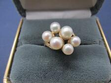 Vintage 10K Solid Yellow Gold Natural Pearl Cluster Ring Sz 6.25