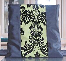 BLACK TAFFETA & LIME GREEN TAFFETA WITH BLACK PRINTED FLOCK DESIGN CUSHION COVER