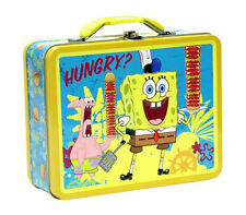 Spongebob SquarePants Kids Tin Metal Storage Lunch Box Carry All Toys Gift Bag