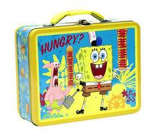 Spongebob SquarePants Kids Tin Metal Storage LunchBox Lunch Box Bag NEW