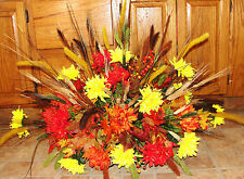 Fall Colors Mums Memorial Funeral Cemetery Grave Tombstone Saddle Silk Flowers