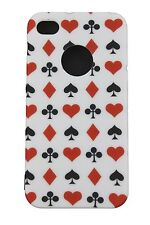 COVER CUSTODIA IPHONE 4 4S SEMI CARTE RIGIDA GOMMATA MATT CASE PLAYNG CARDS