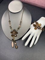 Women's Ladies Necklace Bracelet Seed bead Bohemian flower stretch set mocha