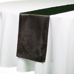 """Set of 10 Richland® 6"""" x 108"""" Satin Table Runners Great for Weddings Black 10'"""