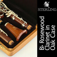 STERLING ROSE WOOD Bb CLARINET in Beautiful Oak Case • Pro Quality •