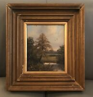 Victorian Oil Painting On Card Framed Landscape