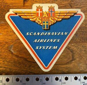 Scandinavian Airlines Sysyem - SAS - Gummed Label - Mint