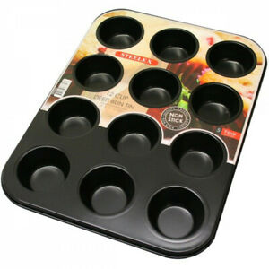 STEELEX 12 Cup Muffin NonStick Bun Fairy Cake Baking Tray Carbon Steel Mould Tin