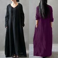 Mode Femme 100% coton Manche Longue Col Rond Casual Unie Loose Robe Dresse Plus