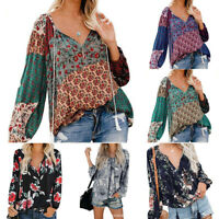 Women Floral Print V-neck Long Sleeve Shirts Casual Loose Drawstring Blouse New