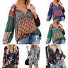 Women Floral Print V-neck Long Sleeve Shirts Casual Loose Drawstring Blouse New