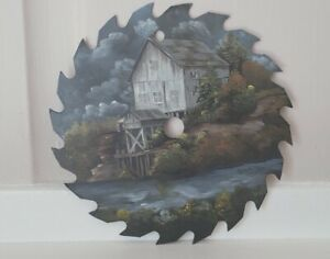 """Hand Painted & Signed Folk Art 7"""" Round Saw Blade River House Scene"""