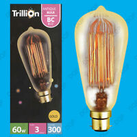 4x 60W Gold Antique Vintage Style Squirrel Cage Dimmable Light Bulb BC B22 Lamp