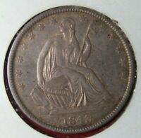 Available is a Toned 1845 Seated Lady Liberty Half Dollar Silver Coin
