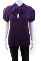 Escada Sport Womens Short Sleeve Tie V Neck Knit Blouse Purple Wool Size Medium