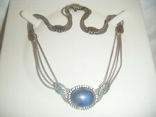 ANTIQUE NIELLO LAPIS STERLING SILVER (800) SWAG STYLE NECKLACE.